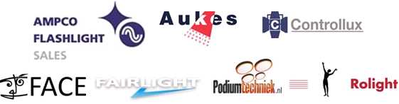 Ampco Flashlight Sales, Aukes Theatertechniek, Controllux, FACE, Fairlight, Podiumtechniek.nl, Rolight.